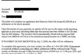 discover card sle debt settlement letter