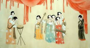 beautiful lady playing chinese painting