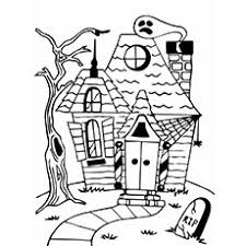 A spooky and festive halloween scene featuring a haunted mansion inspired by art deco! Top 25 Free Printable Haunted House Coloring Pages Online