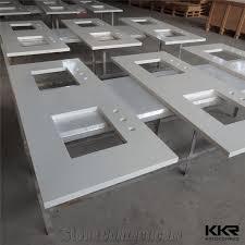 prefabricated sparkle white commercial double sink bathroom quartz stone vanity tops