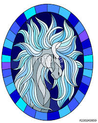 ilration in stained glass style with abstract white horse on a blue background framed in oval