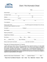Pet Information Sheet Under Fontanacountryinn Com