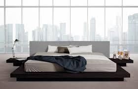 opal modern low profile black oak and grey leatherette platform bed