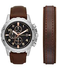 fossil men s chronograph dean dark brown leather bracelet and gallery