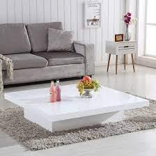 grande storage coffee table in white