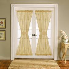 interesting white glass french door window treatments with cream curtain and laminated wooden floor idea