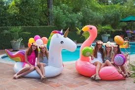 Parties ideas for teenage girls 13th Birthday Pool Party Ideas Teenage Girls Playing On Flamingo Floating And Unicorn Floating Via Blossom Pool Party Ideas Via Blossom