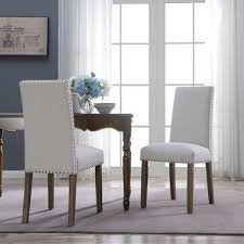 belleze set of 2 dining chairs linen armless nailhead trim accent elegant side chair wooden leg beige today overstock