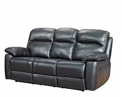 black 3 seater recliner leather sofa