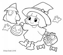 かんたんぬりえ10月②trick Or Treatハロウィン仮装した女の子