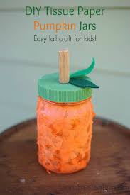 diy tissue paper pumpkin jars a fun easy fall craft for kids using mason