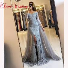 New Arrival 2019 Sexy V Neck Grey Lace Evening Gown Custom ...