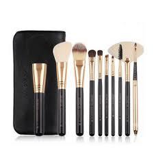makeup brush set by zoreya rose gold black 10 piece set with bag