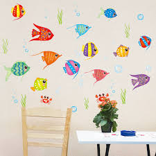 get ations cute cartoon children s room decorative adhesive wall stickers waterproof bathroom tile bathroom klimts colorful fish