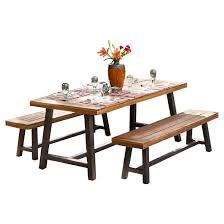 Interesting Patio Furniture Dining Sets Carlisle Rustic Wood Set Brownblack Christopher To Innovation Ideas