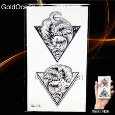Black Triangle Temporary Tattoo Waves Men Arm Stickers Fake Geometric Pine Tree Tatoo Lion Women Neck Hill Waterproof Tattoo Eye