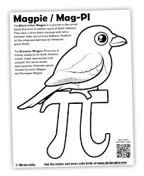 Small Picture Mag PI Coloring Page with Birdorable Magpie for Pi Day