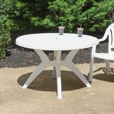 white round resin pedestal table with umbrella hole image preview main picture