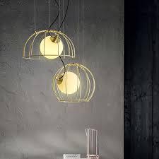 mid century modern 1 light golden cage hanging pendant light with hand blown glass globe for bar restaurant kitchen island pendants