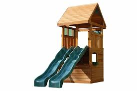 a playhouse with a slide