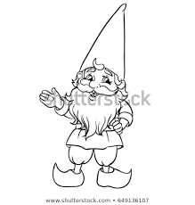 cute cartoon garden gnome vector ilration outlined for coloring book