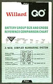 Battery Cross Reference Chart Willard Battery Group Size Cross Reference Chart 70s At