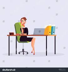 office furniture women. Business Woman Or A Clerk Working At Her Office Desk. Women Calling Phone. Furniture