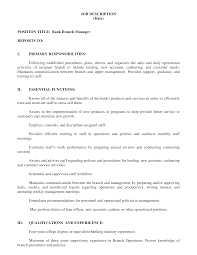 Bank Manager Job Description Bank Manager Job Description Templates At