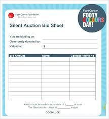 Silent Auction Bid Sheet Examples Of Sheets Sample Free
