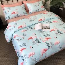 aqua blue gray pink and c red fun flamingo leaf print tropical hawaiian wild animal themed girls twin full queen size bedding sets