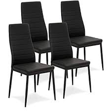 best choice s set of 4 modern high back faux leather dining chairs black