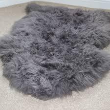 slate grey sheepskin rug single 3 899 p gray home design 8