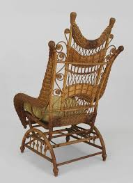 rustic ornate wicker platform rocking chair for