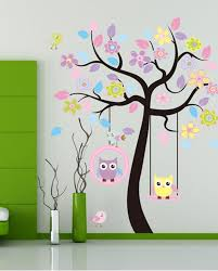 Wall Decor Stickers For Living Room Colorful Abstract Tree Flowers Wall Stickers Decals For Modern