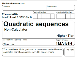 1 9 gcse exam paper on quadratic sequences 1hour by themathsprofessor teaching resources tes
