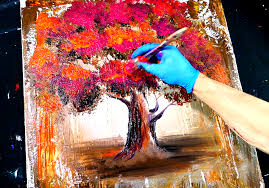 abstract painting magenta orange tree wood grain tool and round brush techniques