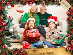 Online Christmas Photo Frame With Ornaments For Your Ecard