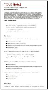 Cv Exemplars International Cv Sample Myperfectcv