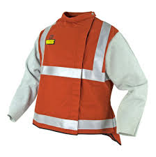 wakatac high visibility welding jacket with chrome leather sleeves and safety harness access