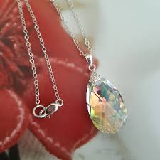 silver ab swarovski crystal teardrop necklace sterling silver customised length gift box for mum