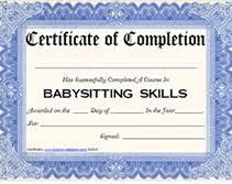 babysitting certificates free certification babysitting certification free