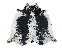 spotted black and white cowhide rug large genuine cow skin real leather speckled salt