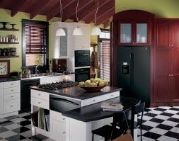 Checkerboard Kitchen Floor Country Kitchen With Compact White Island Also Black Appliance And
