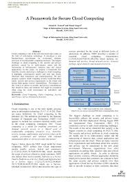 pdf a framework for secure cloud computing