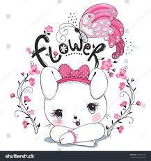 Cute rabbit girl and butterfly with flower on white background ...