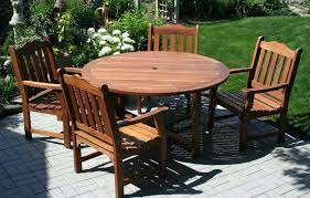 glamorous wood patio furniture round table design with cushions wooden