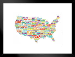 United States Usa Map States City Names Word Cloud Collage Educational Chart Matted Framed Wall Art Print 26x20 Inch