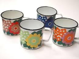 ARABIA FINEL FINLAND <b>ENAMEL</b> 4 <b>mugs</b> 1960s - SUPER RARE ...