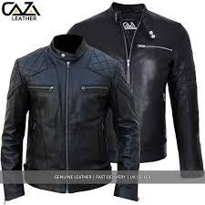 mens black david beckham real leather jacket biker vintage slim fit genuine new 1 of 3free see more