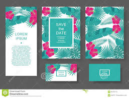 invitation flyer template with tropical flowers and leaves pattern flyer invitation